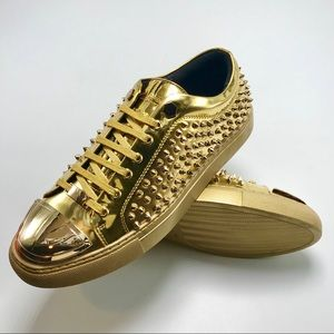 Men's Gold | Silver Spikes Low Fashion Sneakers